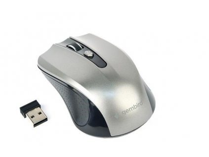 GEMBIRD myš MUSW-4B-04-BG, černo-šedá, bezdrátová, USB nano receiver