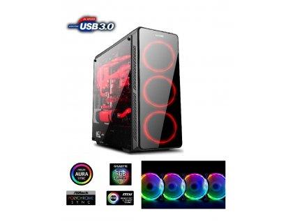 1stCOOL skříň GAMER 3 Aura ARGB, Middle Tower, AU, USB 3.0 + Set FAN ARGB, bez zdroje
