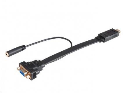 AKASA kabel HDMI na VGA, s audio kabelem, 20cm, černý