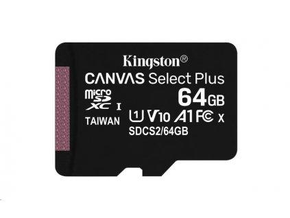 Kingston 64GB micSDXC Canvas Select Plus 100R A1 C10 - 1 ks