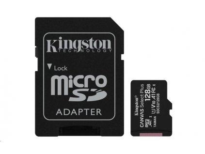 Kingston 128GB micSDXC Canvas Select Plus 100R A1 C10 Card + SD adaptér