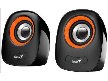 """GENIUS repro SP-Q160 Orange, 2.0, 6W, USB napájení, 3,5"""" jack, černo-oranžové"""
