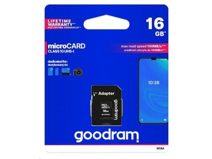 GOODRAM MicroSDHC karta 16GB M1AA, UHS-I Class 10, U1 + adaptér