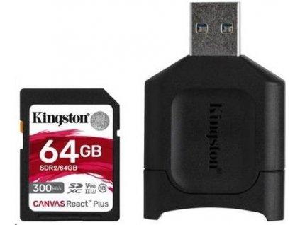 Kingston 64GB SDXC React Plus SDR2 + MLP SD čtečka