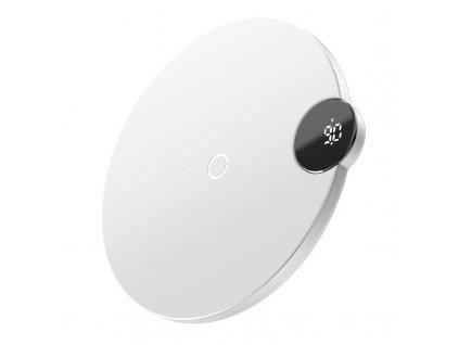 Baseus bezdrátová nabíječka s digitálním LED displejem bílá