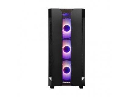 CHIEFTEC skříň Miditower Gaming HUNTER, Black, 4x RGB Rainbow Fan, 2 x USB 3.0, side glass