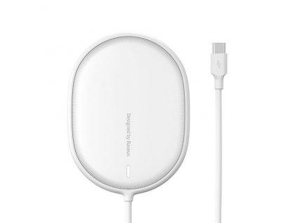 Baseus Light magnetická bezdrátová nabíječka + Type-C kabel 1.5m (kompatibilní s iPhone 12) bílá
