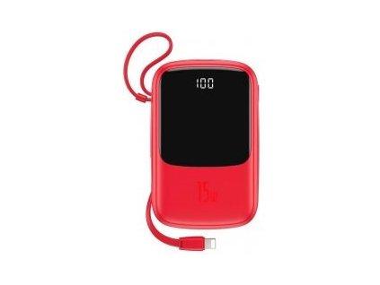 Baseus Qpow powerbanka s LED displejem 3A 10000mAh s Lightning kabelem, červená