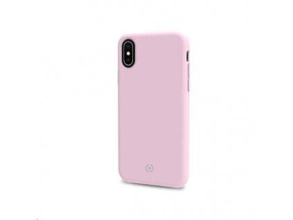 Celly silikonový zadní kryt Feeling pro iPhone XS / X, růžová