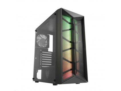 Fortron skříň Midi Tower CMT211 Black, A.RGB, průhledná bočnice