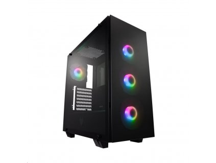 Fortron skříň Midi Tower CMT512 Black, 4 x A.RGB LED fan, průhledná bočnice