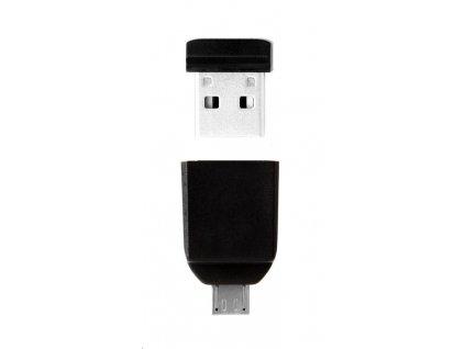 VERBATIM Flash Disk 32GB Store 'n' Stay Nano + micro USB OTG adaptér, USB 2.0, černá