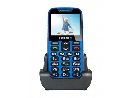 EVOLVEO EasyPhone XD, mobilní telefon pro seniory s nabíjecím stojánkem (modrá barva)