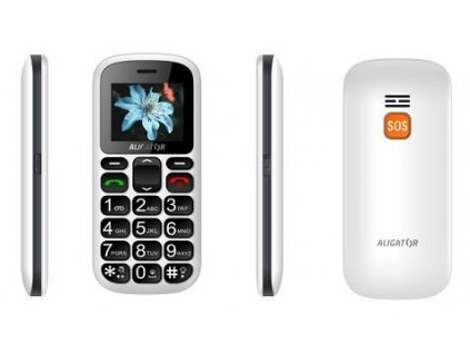 Aligator A321 Senior Dual SIM, bílá + nabíjecí stojánek