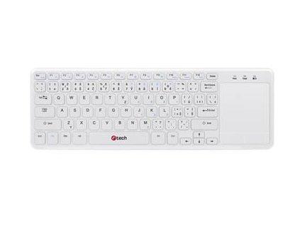 C-TECH klávesnice WLTK-01, bezdrátová s touchpadem, bílá, USB