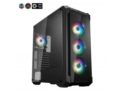 FSP/Fortron ATX Midi Tower CMT520 PLUS black, průhledná bočnice, 4 x A.RGB LED 120 mm ventilátor