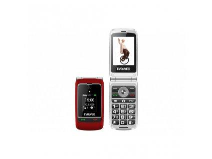 EVOLVEO EasyPhone FG, vyklápěcí mobilní telefon 2,8'' pro seniory s nabíjecím stojánkem (červená)