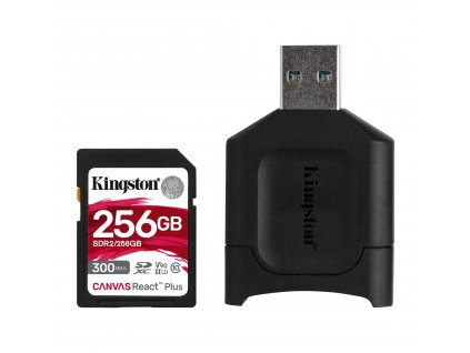 256GB SDHC Kingston Canvas React Plus UHS-II V90 + čtečka