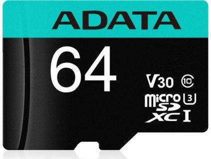 ADATA MicroSDXC 64GB U3 V30S až 95MB/s + adapter