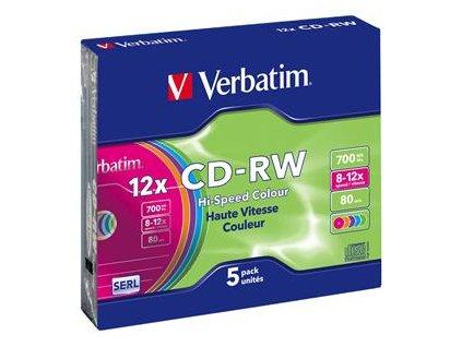 VERBATIM CD-RW(5-Pack)/Slim/Colours/12x/700MB