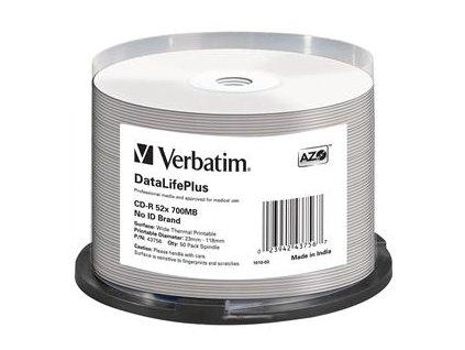 VERBATIM CD-R(50-Pack)/52x/700MB/ThermoPrint/NoID