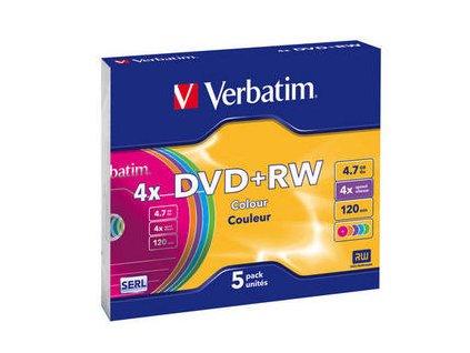 VERBATIM DVD+RW (4x, 4,7GB),slimbox 5ks/pack