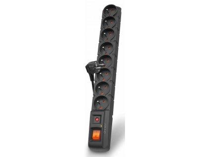 Acar S8 1,5m kabel, 8 zásuvek, přepěťová ochrana, černá
