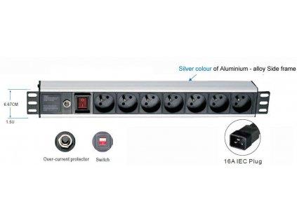 19'' rozvodný panel 1U,7x 220V,koncovka kab.IEC,16A