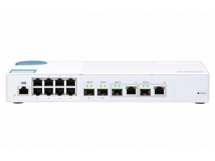 QNAP řízený switch QSW-M408-2C (12portů: 8x Gigabit port + 4x 10G SFP+ /2x 10GbE kombo porty)