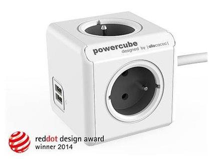 Zásuvka prodluž. PowerCube EXTENDED USB, Grey, 4 rozbočka, 2x USB, kabel 3m