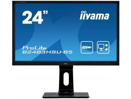 24'' iiyama B2483HSU-B5: TN, FullHD, 250cd/m2, 1ms, VGA, DP, HDMI, USB, height, pivot, černý