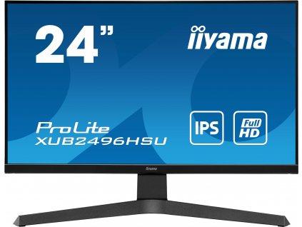 24'' iiyama XUB2496HSU-B1: IPS, FullHD@75Hz, 250cd/m2, 1ms, HDMI, DP, USB, height, pivot, černý