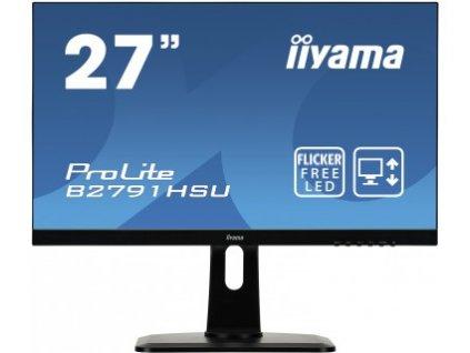 27'' LCD iiyama B2791HSU-B1 - 1ms,300cd/m2,1000:1,FHD,VGA,DP,HDMI,USB,repro,pivot,výš.nastav.,černý