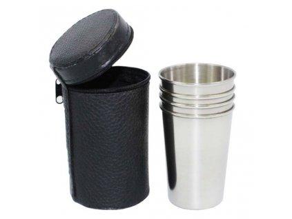 Nerezové poháriky v púzdre XL 170ml 4ks čierne (1)