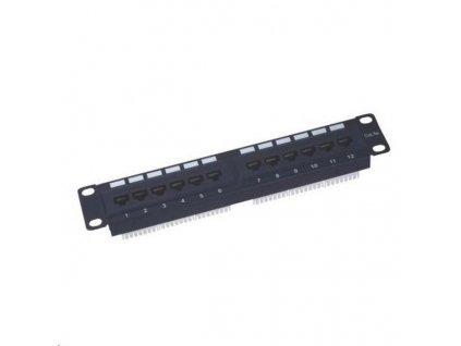 """10"""" Patch panel XtendLan 12port, UTP, Cat5E, krone, černý"""