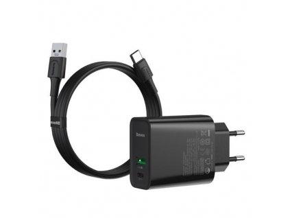 Baseus Speed PPS set duálního USB-A QC + USB-C 30W adaptéru a kabelu USB-A do USB-C 5A 1m, černá