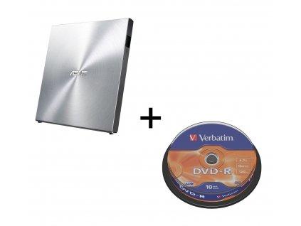 BUNDLE ASUS SDRW-08U5S-U/SILVER externí slim + soft + Verbatim DVD-R 10cake