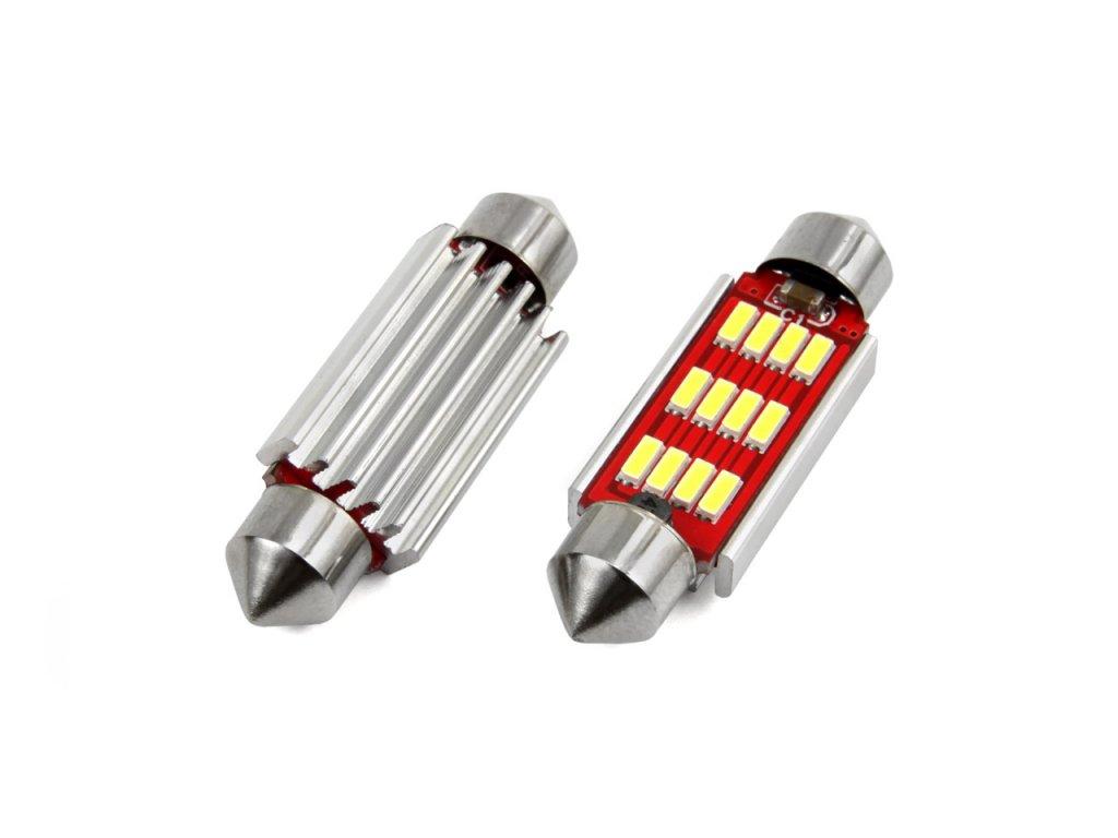 LED žárovka CANBUS 12SMD 4014 sufitka 41mm bílá 12V/24V