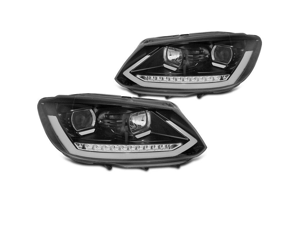 Přední světla VW Touran II  10-15 černá TUBE LIGHT TRU DRL SEQ