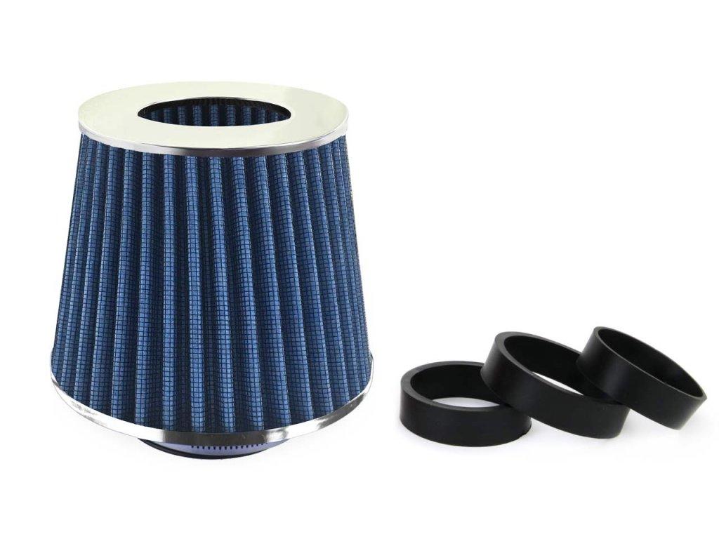 Sportovní vzduchový filtr - universál, modrý + 3 adaptéry