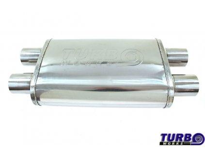 "Centrální tlumič výfuku TURBOWORKS LT-02 Dual 2,25"" Dual 2,25"" X-Pipe"
