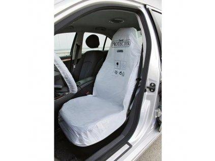Potah sedadla, ochranný,  2 kapsy, bílá barva, 100 ks
