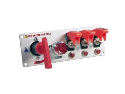 Přepínač 5 in 1 s červenou krytkou + signalizace sepnutí, panel hliník