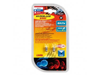 Žárovka 12V Hyper-LED 1SMD BA7S - bílá, 2 ks