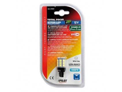 Žárovka 12V Hyper-LED 27SMD (W21/5W) W3x16q - bílá, 1 ks