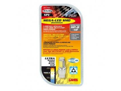 Žárovka 12V Hyper-LED 8+12SMD (W21/5W) W3x16q - bílá, 1 ks