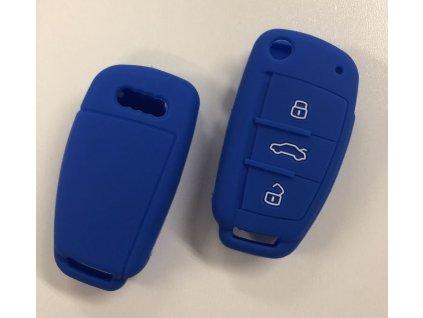 Silikonový kryt klíče Audi A1 A3 A4 A5 A6 A7 A8 Q5 Q7 R8 TT S5 S6 S7 S8 SQ5 RS5 TT - modrý