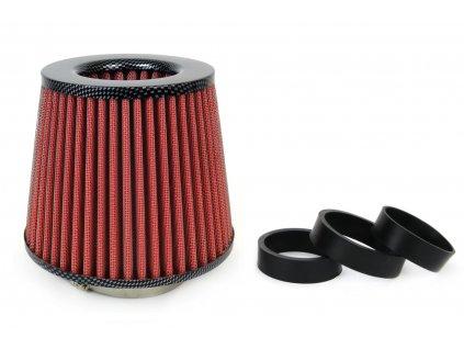 Sportovní vzduchový filtr - universál, karbon + 3 adaptéry