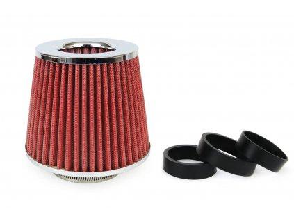 Sportovní vzduchový filtr - universál, chrom + 3 adaptéry