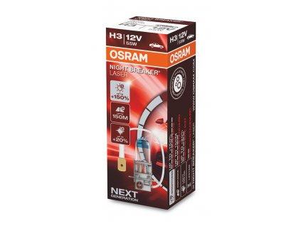 OSRAM NightBreaker Laser +150% 12V H3 55W Pk22s autožárovka